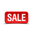 Sale red 3d square button isolated on white vector image