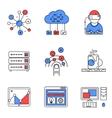 Web services line icons set vector image