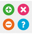 plus and minus icons question faq symbol vector image