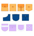 types of pockets with flap denim ruffle vector image