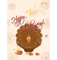 happy thanksgiving day with turkey vector image