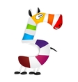 Number five Made of colorful animal cartoon vector image