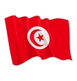 political waving flag of tunisia vector image vector image