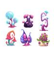 beautiful fantasy mushrooms set vector image