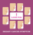 breast cancer symptoms infographic vector image