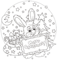 Bunny with Christmas card vector image
