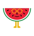 Cheerful cartoon watermelon in glasses on a white vector image