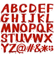 Letters of the alphabet in bloody fontstyle vector image