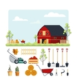 Set farm tools flat- Garden vector image