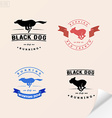 Set of logotypes with running dog for petshops vector image