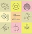 superfood line icons set color background vector image