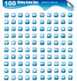 100 icons for websites button vector image