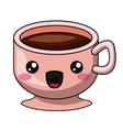 Coffee mug with kawaii face design vector image