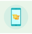 Smartphone with chatting icon Flat vector image