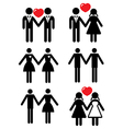 Gay and lesbian love couples set vector image