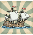 vintage grunge background with sailboat vector image