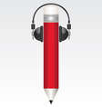 Pencil red and headphones vector image vector image