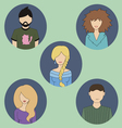 five colored people icons vector image