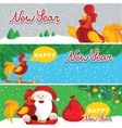 Merry Christmas horizontal flyers with Santa Claus vector image