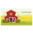 Rural landscape with farmhouse background vector image