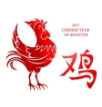 Red rooster as symbol of Chinese New Year 2017 vector image