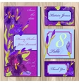 Wedding card design with purple iris flowers vector image