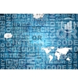 Blue abstract tech background with words vector image