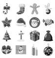 Christmas icons set gray monochrome style vector image