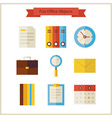 Flat Business Office Objects Set vector image