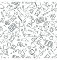 seamless pattern black school supplies vector image