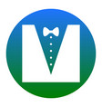 Tuxedo with bow silhouette white icon in vector image