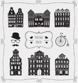 Vintage Old Styled Houses Black Shapes vector image
