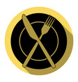 fork knife and plate sign  flat black vector image