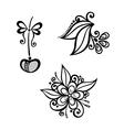 Decorative Cherry Branch Set vector image