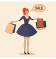 Lady with some bags sale vector image vector image