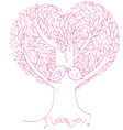 Two birds on love tree vector image vector image