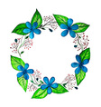 Watercolor spring wreath with blue flowers and vector image