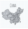 Pencil hand drawn China map on paper vector image