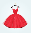 Red vintage style party dress vector image