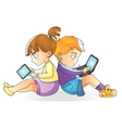 Children with gadgets boy and laptop girl reads vector image
