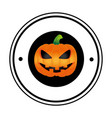 circular frame with halloween pumpkin vector image