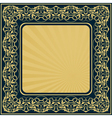 gold frame with floral ornamental border vector image