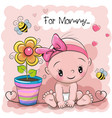 greeting card baby with flower vector image
