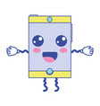 kawaii cute happy smartphone technology vector image