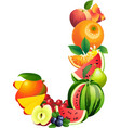 Letter J composed of different fruits with leaves vector image