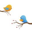 Cute blue birds on the love date vector image