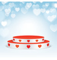 white pedestal with red hearts vector image