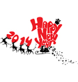 New Year card with flying rein deers - 2014 vector image