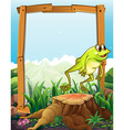 Wooden frame with frog jumping background vector image