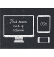 Hand drawn doodle electronic devices mockup set - vector image